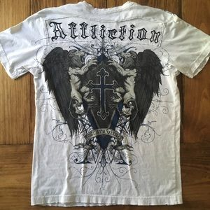 Affliction Distressed Cross Shield Lions T Shirt